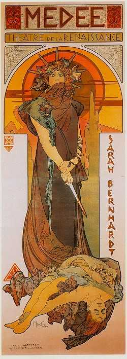 Poster for the play medea with sarah bernhardt by mucha 1898