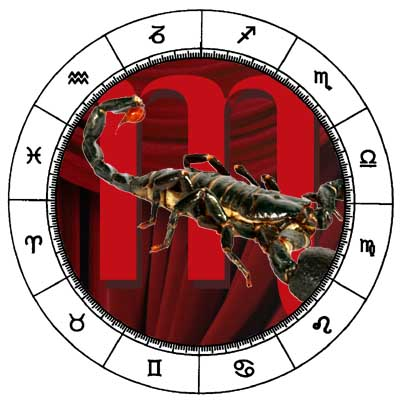 The Scorpio symbol and sign in the horoscope chart.